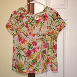 J Crew Vibrant Multi Orange Yellow Floral Top S